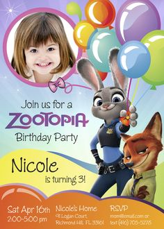 Zootopia Birthday Invitation | Customize it with your daughter along the bunny Judy Hopps and the fox Nick Wilde.
