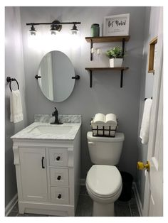 Half Bath Decor, Half Bathroom Decor, White Vanity Bathroom, Bathroom Interior, Bathroom Ideas, Small Bathroom Redo, Gray Bathroom Walls, Bathroom Wall Colors, Budget Bathroom