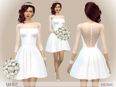 White - The Sims 4 Catalog Sims 4 Teen, Sims Four, Sims 4 Mm, Maxis, Elegant White Dress, Elegant Dresses, Sims 4 Wedding Dress, Wedding Dresses, Vêtement Harris Tweed