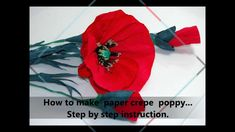 How to make paper crepe poppy Step by step DIY These look realistic to me. Tissue Flowers, Paper Flowers Craft, How To Make Paper Flowers, Crepe Paper Flowers, Paper Flower Backdrop, Flower Crafts, Diy Flowers, Fabric Flowers, Paper Crafts