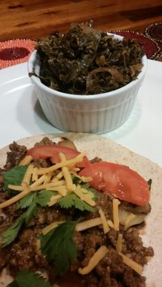 Curried turkey tacos on low carb wheat tortilla with kale greens sauteed in red wine vinegar, onions and olive oil. Flavor explosion-diabetic friendly! Try our Madras Curry and put a twist on taco night.