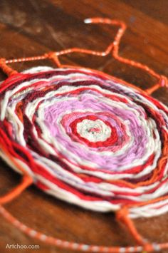 Coat Hanger Weaving - great first weaving project for kids