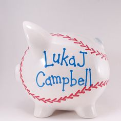 *** ORDERS WILL SHIP IN 1-2 WEEKS ***  * * * * * MADE TO ORDER * * * * * A super way to save your change for those peanuts and cracker jack at the ball park.....or the perfect gift for the ballplayer in your family.  Painted white with raised red stitches, this piggy bank looks like a giant baseball. Accented with light blue and personalized with navy, other colors are available. My piggy banks measure 7 inches tall to the tip of the ears and are the size of a small watermelon. They are a…
