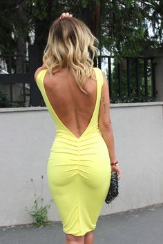 Zorannah Yellow Flirty Bodycon Open Back Midi Dress.
