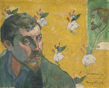 Self-Portrait with Portrait of Bernard, 1888 Paul Gauguin (1848-1903)   Paul Gauguin's face bears a troubled expression, for the artist has painted himself in the role of Jean Valjean, the protagonist in the Victor Hugo novel Les Misérables. Gauguin compared this fictional hero, a man rejected by society despite his inner power and love, with the misunderstood artists of his own time, including himself.