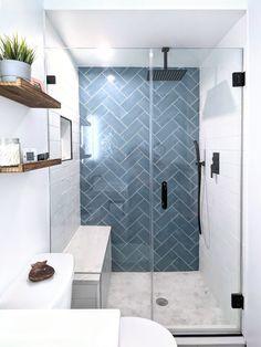 Colourful Bathroom Tiles, Blue Bathroom Tiles, Master Bathroom Shower, Hall Bathroom, Upstairs Bathrooms, Bathroom Renos, Simple Bathroom, Bathroom Renovations, Modern Bathroom