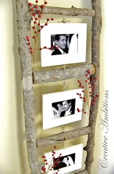 DIY Photo Ladder | Simple Wooden Photo Frame Decoration by Diy Ready http://diyready.com/diy-photo-frames-to-keep-your-memories-near-and-dear/