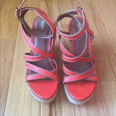 MOSSIMO Strappy Wedge Sandals MOSSIMO Strappy Wedge Sandals. These are NWOT. Perfect condition never wornno tradeno PP Mossimo Supply Co. Shoes Sandals