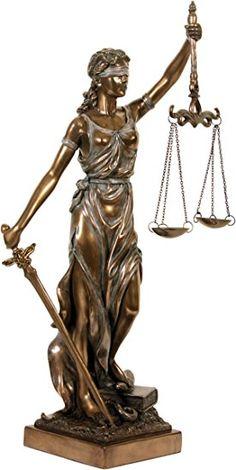 Figura decorativa: Justitia. Diosa de la justicia. Escultura. bronceado