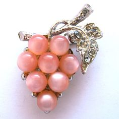 Coro Pink Moonglow Grape Cluster Pin