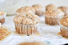 whole wheat banana spice muffins with brown butter glaze