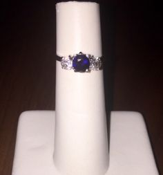 The Lisa diamond and sapphire 3 stone 18k white gold ring.  #diamond #ring #wedding #engagement #finejewelry #diamondsandpearls #diamondsareagirlsbestfriend #RoseandCoco #onlineboutique #jewellery #antique #vintage #sapphire