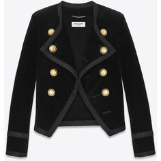Saint Laurent Spencer Jacket (€3.095) ❤ liked on Polyvore featuring outerwear, jackets, button jacket, button up jacket, cropped cotton jacket, cotton jacket and cropped jacket
