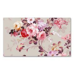 Vintage Elegant Pink Red Purple Roses Pattern Business Card Template