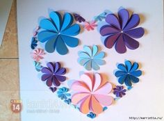 It is really pretty and simple to make flower heart or trees or whatever you can create simply by folding paper hearts in half and glue on paper. You can m