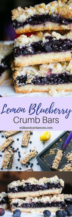 Blueberry Lemon Crumb Bars - made with blueberry chia jam.