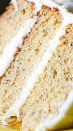 This is truly the Best Banana Cake Recipe ever! It's soft, sweet with the perfect amount of banana and it's topped with creamy frosting!