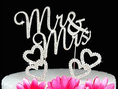 Mr  Mrs Monogram Cake Toppers Crystal Wedding Cake Topper Bling Silver Swirl with hearts -- Details can be found by clicking on the image.(This is an Amazon affiliate link and I receive a commission for the sales)