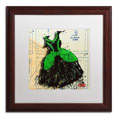 'Black n Green Swirls' by Roderick Stevens Framed Graphic Art