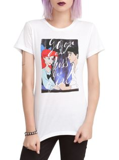 "Fitted white tee from The Little Mermaid with Ariel & Eric design that reads ""go on and kiss the girl."""
