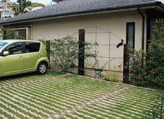 芝生の張れる車庫の施工例です。温暖化による気温上昇を抑えます。