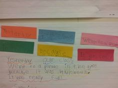 Recount writing in first grade (orange-when, blue-who, pink-what, green-where, yellow-why, red-feelings sentence)