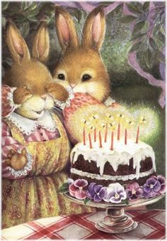 My daughter is crazy about her bunny - me too: Susan Wheeler ~ Holly Pond Hill Susan Wheeler, Beatrix Potter, Birthday Cake Illustration, Cute Illustration, Illustration Animals, Bunny Art, Cute Bunny, Hunny Bunny, Birthday Greetings