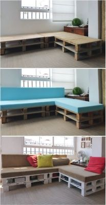 Pretty cool idea!!. We can find these anywhere. DIY porch pallet sofa