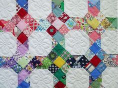 nine patch scrappy quilt patterns 9 Patch Quilt, Quilt Blocks, Scrappy Quilts, Easy Quilts, Star Quilts, Quilting Projects, Quilting Designs, Quilting Ideas, Snowball Quilts