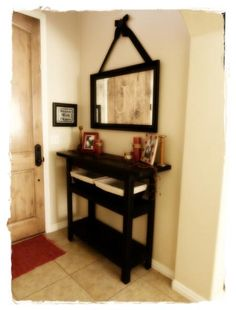 Console Table/Entry table I like how the mirror is hung Repurposed Furniture, Home Furniture, Reuse Furniture, Entrance Table, Entry Tables, Main Entrance, Diy Table, Console Table, Home Projects