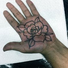 Lovely Rose Tattoo Male Palms