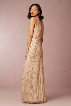 """{""""Ascott"""" -- Sleeveless, Nude Gown Showcasing STUNNING Embroidery/Beadwork; by Adrianna Papell for BHLDN················································}"""