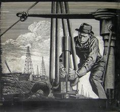 "Richard F. Williams (Dick Williams) painting ""Oil Field Worker"" American: c. Oilfield Trash, Oilfield Life, Company Job, Oil Industry, Oil Rig, Oil And Gas, Antique Prints, Oil Field, Vintage Art"