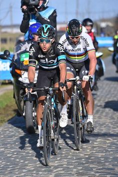 Peter Sagan (Tinkoff) and Michal Kwiatkowski (Team Sky) power toward the finish of E3 Harelbeke, after breaking away from the lead group.