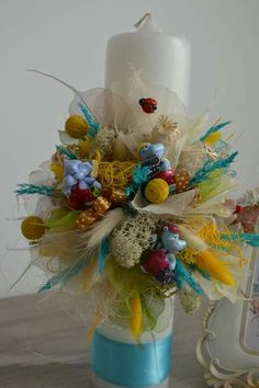 Christening, Candles, Table Decorations, Cars, Handmade, Home Decor, Baptisms, Hand Made, Autos