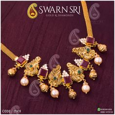 Adorable Peacock Necklace with square shape rubies and Swarovski stones, the necklace adorned with South Sea Pearls and Nakshi balls, weight grams, Approx cost: For any queries please WhatsApp ☎️ 0866 - Peacock Necklace, Gold Choker Necklace, Antique Necklace, Gold Necklaces, Light Weight Gold Jewellery, Gold Jewelry Simple, Gold Jewellery Design, Latest Jewellery, Jewelry Patterns