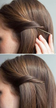 Bobby Pin Trick: Twist your hair, and slip your bobby pin underneath to secretly pin back your strands