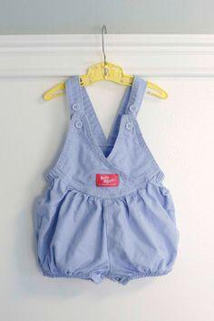 12 Months: Light Blue Baby Girl Denim Twill Bubble Romper, Summer Baby Bubble, Baby B'gosh by Oshkosh B'Gosh www.etsy.com/shop/petitpoesy