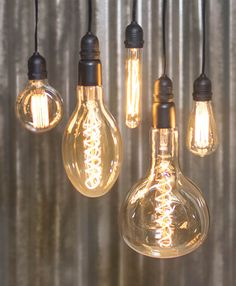 Our oversized bulbs hang splendidly with a mix of our standard size bulbs for an industrial delight!
