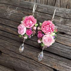 Handmade earrings with peonies and lilacs – shop online on Livemaster with shipping