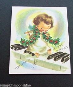 D361 Vintage Xmas Greeting Card Adorable Angel Stepping on Piano Keys | eBay