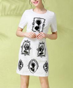 OUYALIN Black & White Portraits Short-Sleeve Dress - Plus Too | zulily