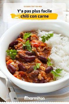 Chili con carne simple, un repas parfait et équilibré, une recette facile à faire et des convives régalés #chili #recettechili #chiliconcarne #recettechiliconcarne #recette #marmiton #recettemarmiton #cuisine #texmex