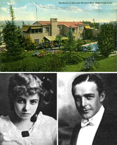 The home of silent era star Wallace Reid and his actor wife Dorothy Davenport built in the 1920s in the Hacienda Park section of West Hollywood, which is now part of the Sunset Strip. The house faced DeLongpre Avenue, which means its back was to the Strip, so that tourists on the Strip saw the view of it shown here. That's Davenport and Reid below. Reid was perhaps the first major star to die from drug abuse.