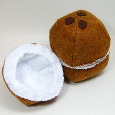 NEW Coconut Half Felt Play Food. $8.00, via Etsy.