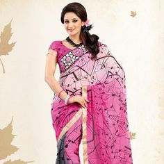 Shaded Pink and Grey Faux Chiffon Saree with Blouse