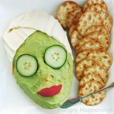 Fun spa party treat! Could use favorite cheese ball recipe for face.