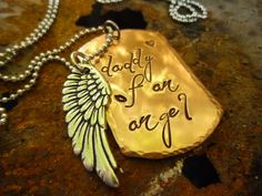 Miscarriage Jewelry, Hand Stamped Necklace, Personalized, Dad Gift, Fathers Day, Mens Jewelry, Dog Tags, Angel Wing, Copper, Hammered on Etsy, $26.00