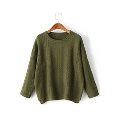 SheIn(sheinside) Army Green Drop Shoulder Side Slit Cable Knit Sweater ($22) ❤ liked on Polyvore featuring tops, sweaters, green, loose sweaters, cable-knit sweater, army green sweater, green cable knit sweater and olive sweater