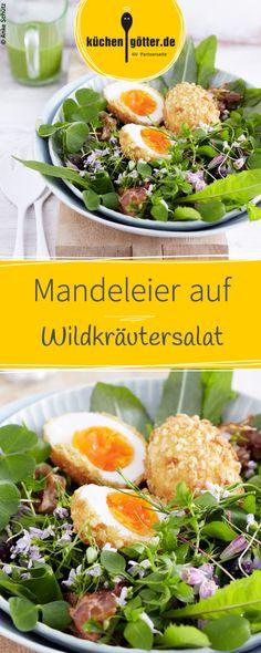 Der bunte Frühlingssalat mit scharf-süßem Dressing wird mit kross gebratenem Speck und mit knusprigen Eiern serviert. Das Rezept dazu findet ihr bei uns!